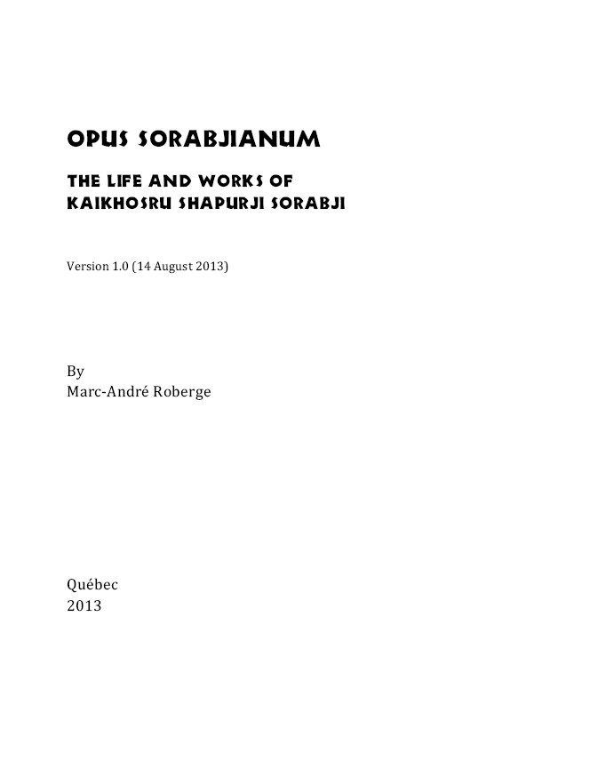 "Cover of Marc-André Roberge's book ""Opus sorabjianum"""