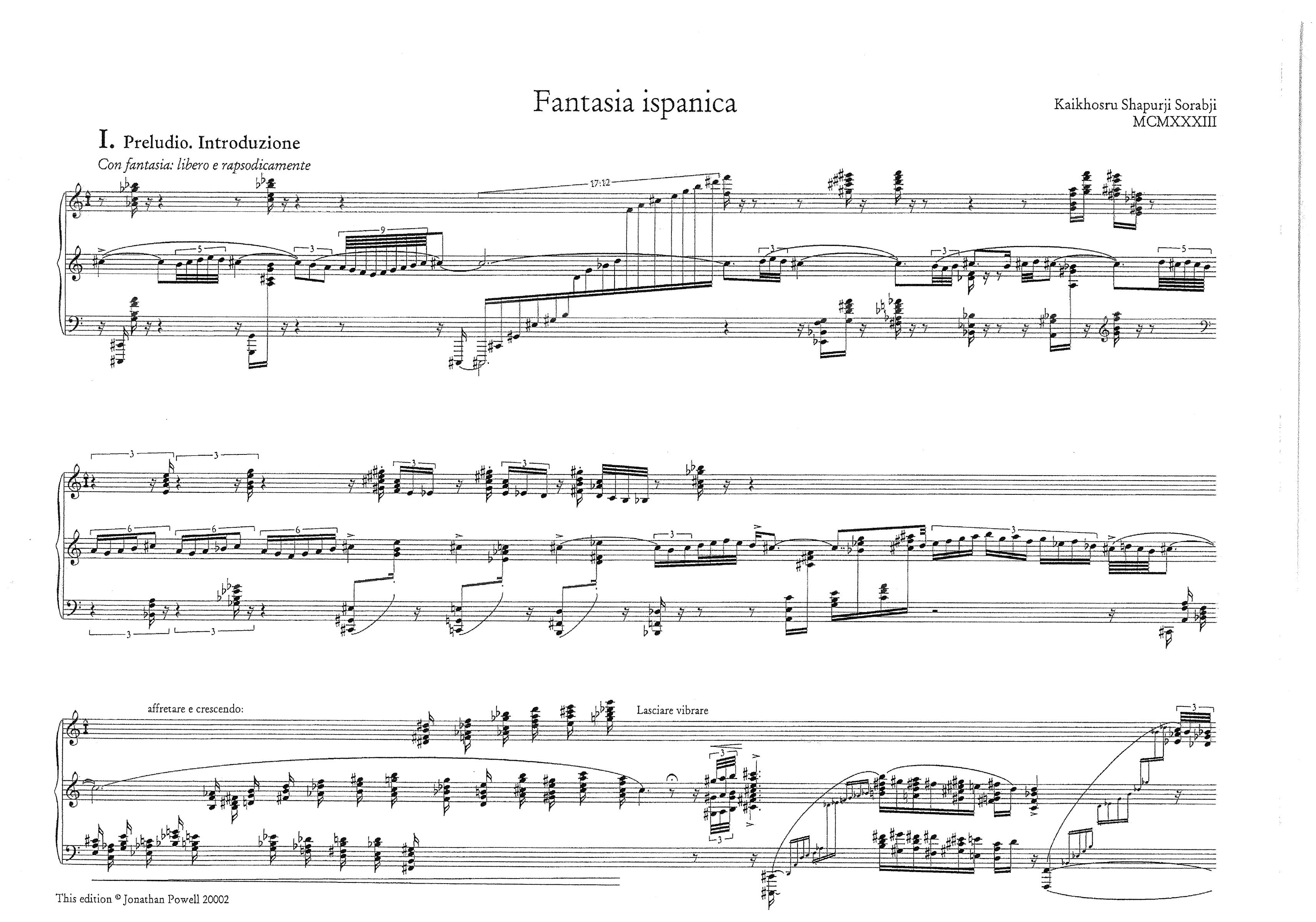 The Sorabji Archive — Compositions — KSS55 Fantasia Ispanica