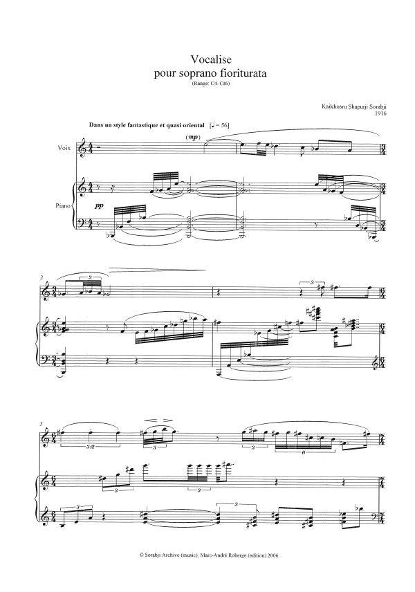 The Sorabji Archive — Compositions — KSS5 Vocalise pour soprano